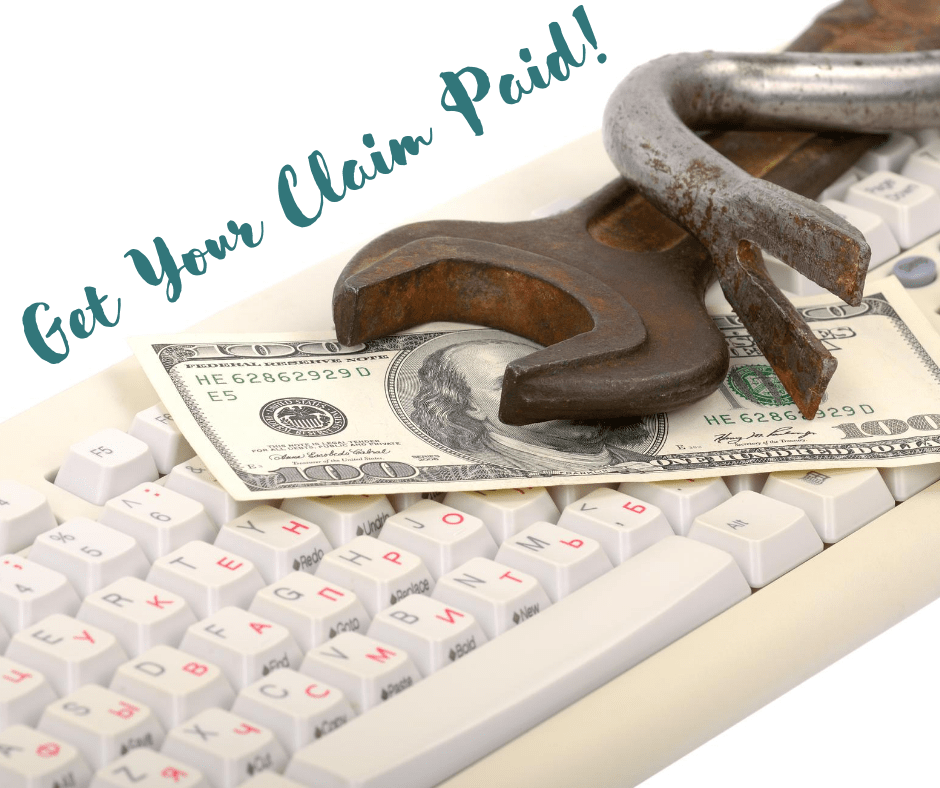 Get Your Claim Paid Image of keyboard, money and wrench